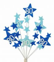Star age 80th birthday cake topper decoration in shades of blue - free postage